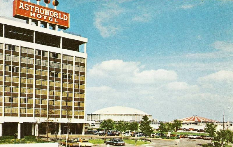 The Astroworld Hotel from an angle, looking out at the Astrodomain.